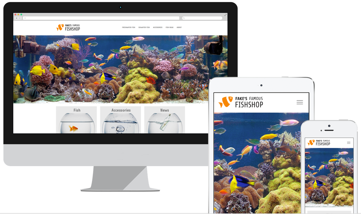 Website of Fake's Famous Fishshop shown on three differnet devices