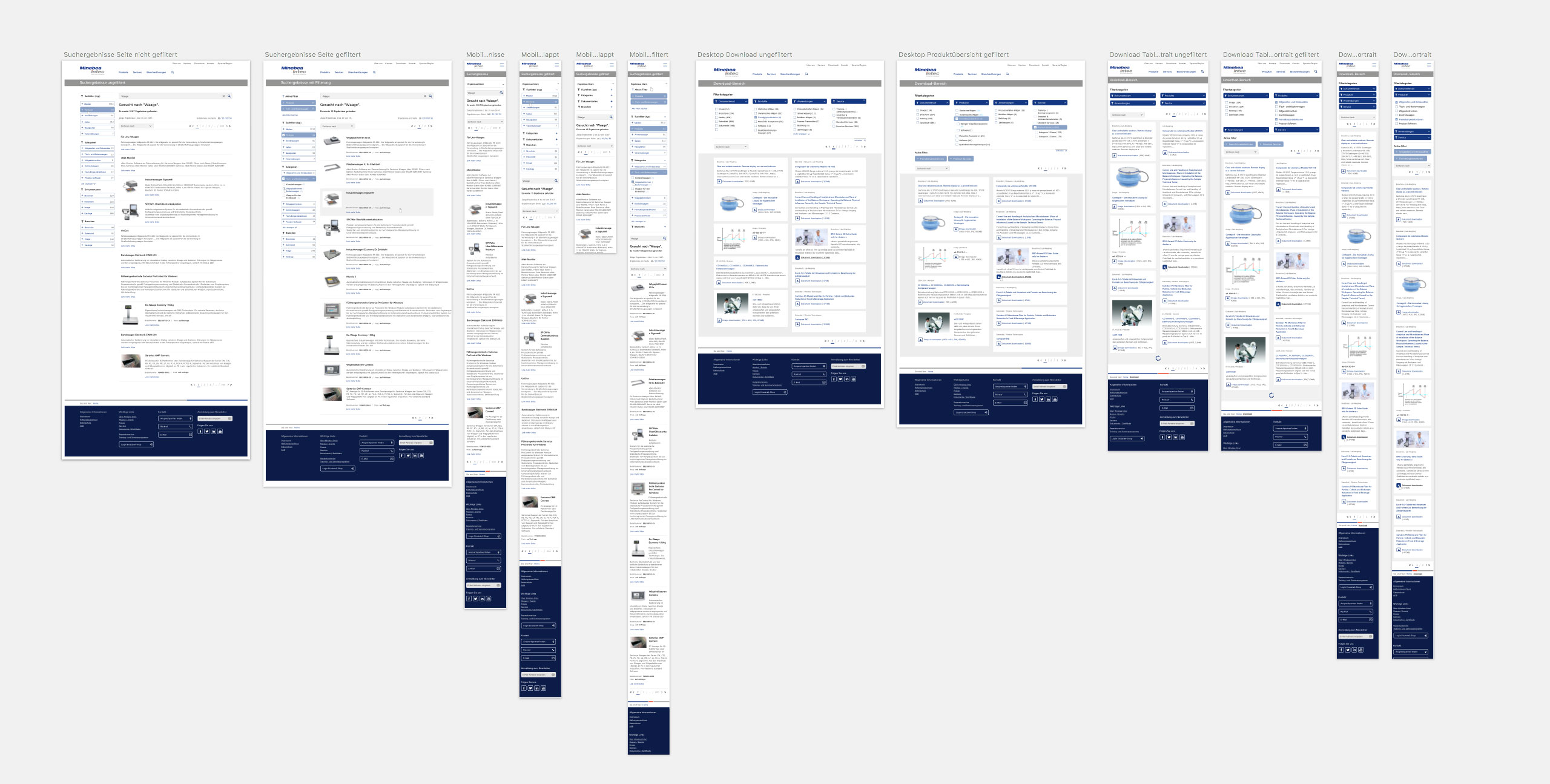 Wireframing, Konzeptionsphase Minebea Intec GmbH
